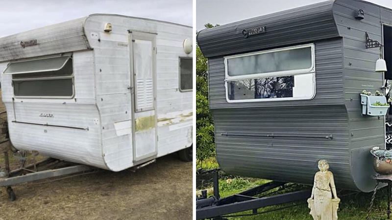 Before and after shot of Caravan dirty and white (left) and chic and grey (right) DIY transformation