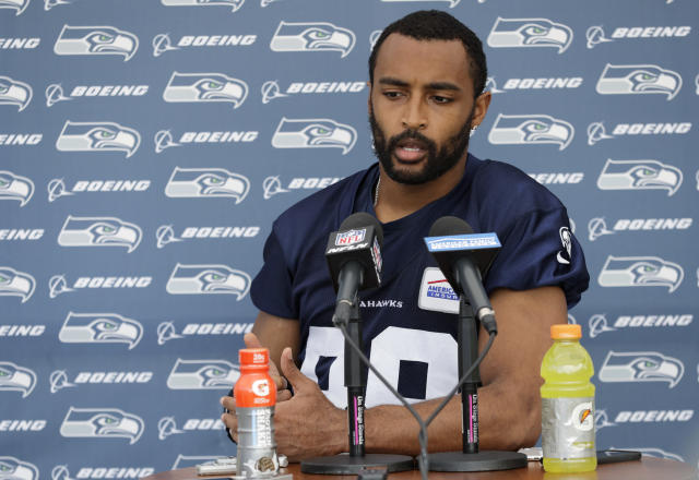 Seattle Seahawks wide receiver Doug Baldwin reacted to Donald Trumps comments regarding the national anthem protests to reporters following practice on Thursday. (AP Photo/Ted S. Warren)