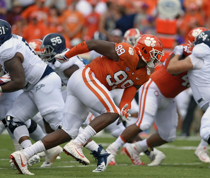 FILE - In this Sept. 15, 2018, file photo, Clemson's Clelin Ferrell (99) rushes into the backfield during the first half of an NCAA college football game against Georgia Southern, in Clemson, S.C. Ferrell is a possible pick in the 2019 NFL Draft. (AP Photo/Richard Shiro, File)
