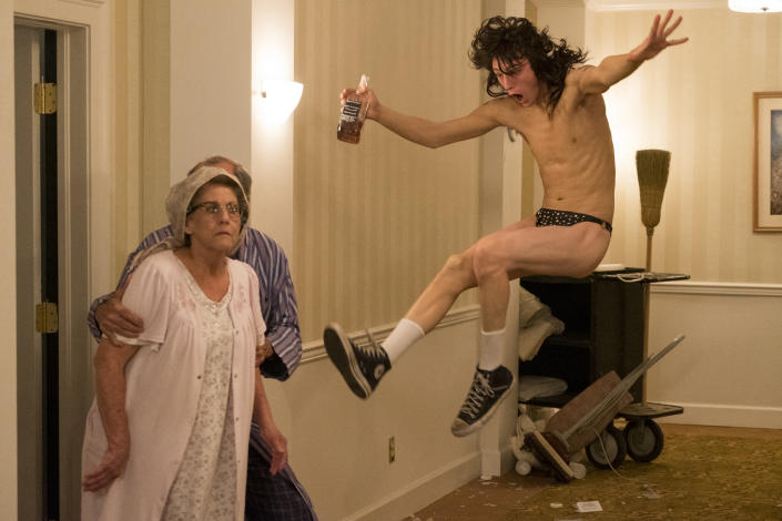 Tommy Lee, played by Machine Gun Kelly, carouses in The Dirt, Netflix's Mötley Crüe biopic. | Jake Giles Netter
