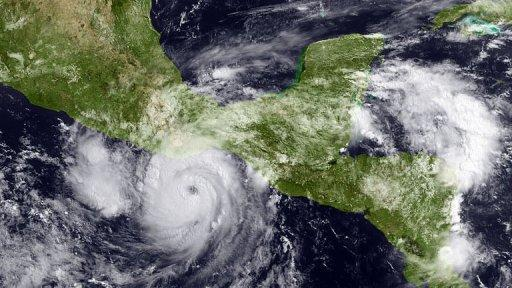 Hurricane Carlotta approaching the Mexican Pacific coastline