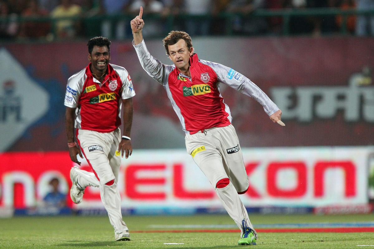 Adam Gilchrist celebrates the wicket of Harbhajan Singh during match 69 of the Pepsi Indian Premier League between The Kings XI Punjab and the Mumbai Indians held at the HPCA Stadium in Dharamsala, Himachal Pradesh, India on the on the 18th May 2013. (BCCI)