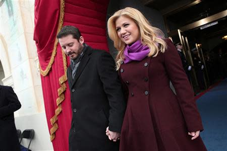 File photo of singer Kelly Clarkson and Brandon Blackstock at the second presidential inauguration of U.S. President Barack Obama in Washington
