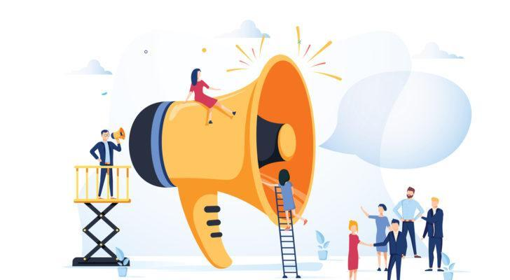 graphic of man using megaphone to talk into giant megaphone towards group of people, conveying idea of advertising