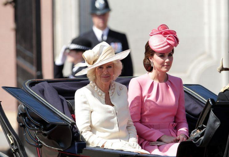 <i>Kate wore a pink Alexander McQueen dress for the 2017 Trooping the Colour parade [Photo: PA]</i>