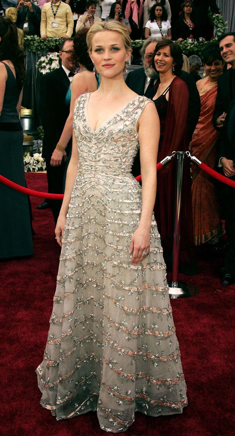<p>Reese won the fashion game (and an Oscar for Best Actress!) when she showed up in this lovely Dior dumber with beaded embellishments and a low-cut neckline. She won the award later that night for her performance in <em>Walk the Line</em>. </p>