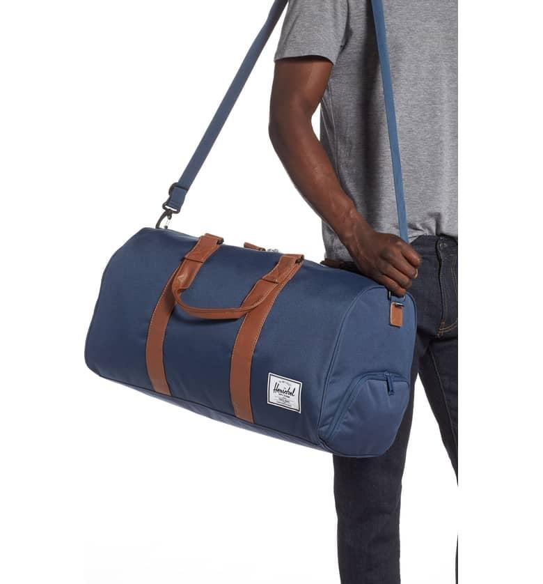 <p>He will be going places with this trendy <span>Herschel Supply Co. Novel Duffel Bag</span> ($90).</p>
