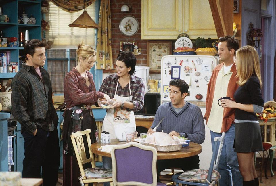 'The One with Chandler in a Box' Episode 8 -- Pictured: (l-r) Matt LeBlanc as Joey Tribbiani, Lisa Kudrow as Phoebe Buffay, Courteney Cox as Monica Geller, David Schwimmer as Ross Geller, Matthew Perry as Chandler Bing, Jennifer Aniston as Rachel Greene  (Photo by Paul Drinkwater/NBC/NBCU Photo Bank via Getty Images)