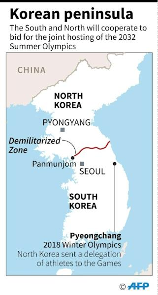 Map of the Korean peninsula. The South and North will cooperate to bid for the joint hosting of the 2032 Summer Olympics