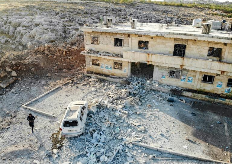 An aerial view of a hospital that was reportedly hit by an air strike in the Syrian village of Shinan in war-ravaged Idlib province