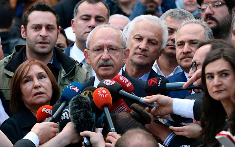 Kemal Kilicdaroglu, leader of the CHP opposition party, said his party would contest the results - Credit: AFP PHOTO / ADEM ALTAN