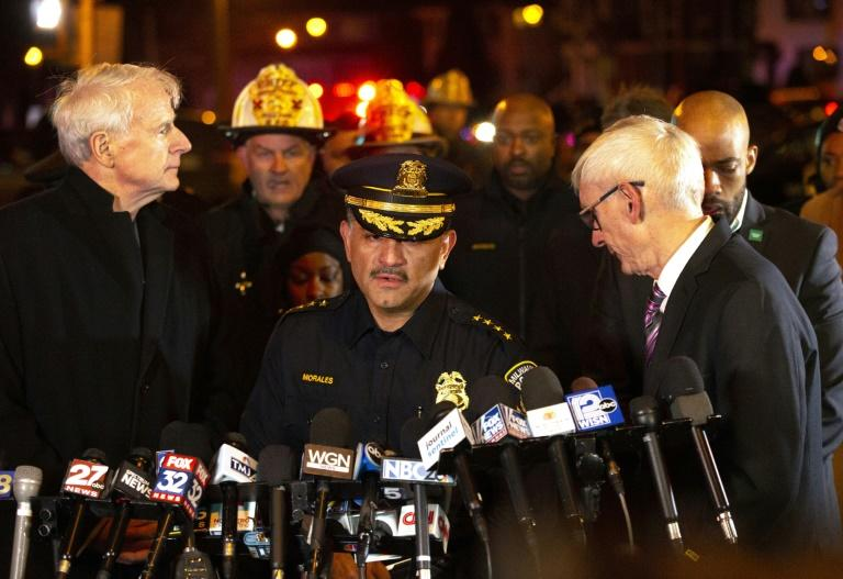 (L-R) Milwaukee Mayor Tom Barrett, Police Chief Alfonso Morales and Wisconsin Governor Tony Evers speak to the media following the shooting that left five brewing company workers dead, plus the shooter