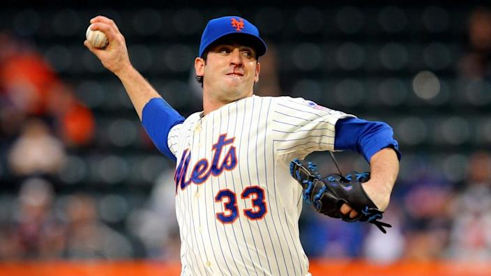 May 7, 2013; New York, NY, USA; New York Mets starting pitcher Matt Harvey (33) pitches against the Chicago White Sox with a bloody nose during the first inning of a game at Citi Field.
