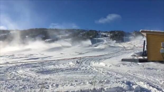 Snow-making machines operating on White Hills in 2018. White Hills expects the 2020 season can continue until Easter break.