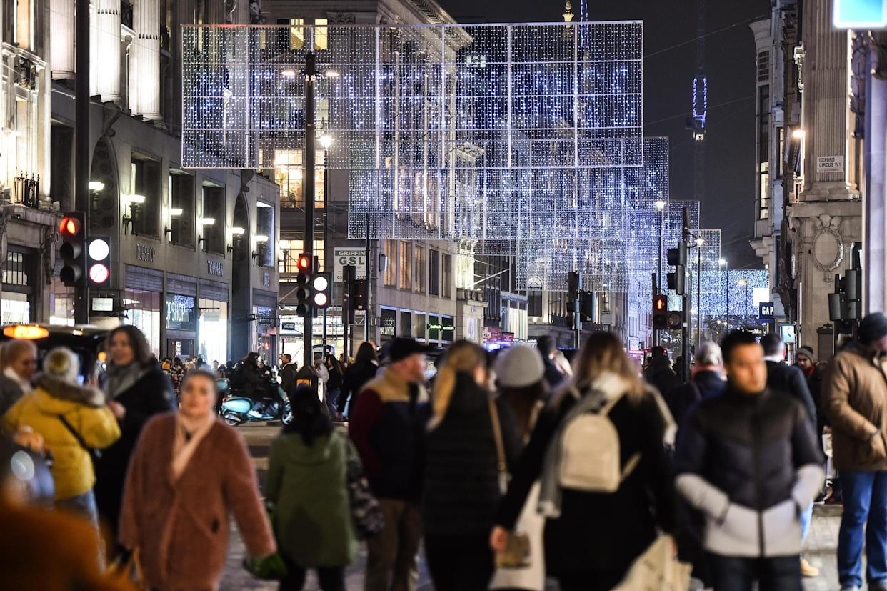 EDITORIAL USE ONLY The Oxford Street Christmas lights are switched on, in partnership with Capital XTRA, celebrating 60 years of the annual display in London.