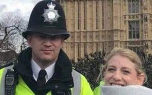Last known photo of PC Palmer with US tourist Staci Martin taken 45 minutes before he was killed - Staci Martin