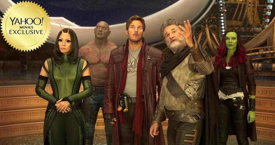 """<p>Cue the mixtape and strap in for <a rel=""""nofollow"""" href=""""https://www.yahoo.com/movies/tagged/james-gunn"""" data-ylk=""""slk:James Gunn"""" class=""""link rapid-noclick-resp"""">James Gunn</a>'s laugh-a-minute romp that returns bickering heroes Peter Quill (<span>Chris Pratt</span>), Gamora (<a rel=""""nofollow"""" href=""""https://www.yahoo.com/movies/tagged/zoe-saldana"""" data-ylk=""""slk:Zoe Saldana"""" class=""""link rapid-noclick-resp"""">Zoe Saldana</a>), and pals as they battle new alien menaces — and meet Pete's dad, the shape-shifting celestial being Ego (<a rel=""""nofollow"""" href=""""https://www.yahoo.com/movies/tagged/kurt-russell"""" data-ylk=""""slk:Kurt Russell"""" class=""""link rapid-noclick-resp"""">Kurt Russell</a>). 