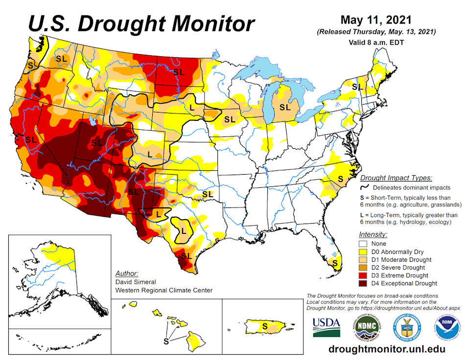 Color-coded map showing drought