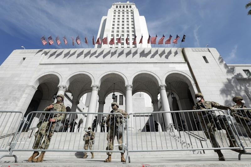 LOS ANGELES, CA - MAY 31: The California National Guard is deployed at City Hall in downtown Los Angeles on Sunday, May 31, 2020 in Los Angeles, CA. (Myung J. Chun / Los Angeles Times)