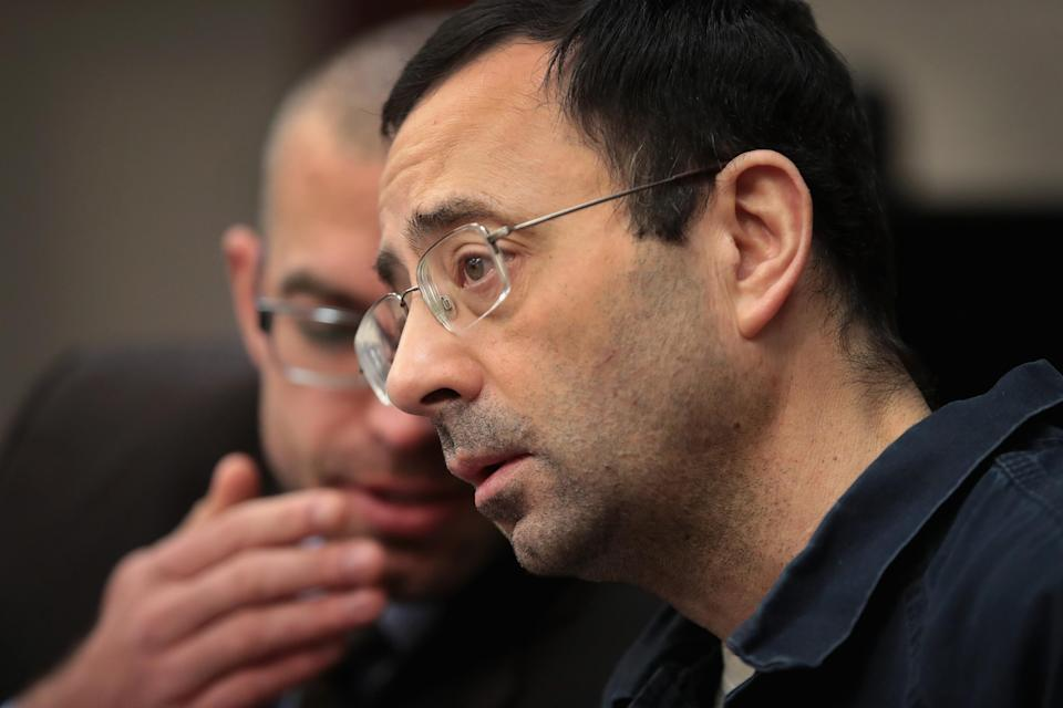 Former doctor Larry Nassar listens to many testimonies from women he sexually abused. (Photo: Getty Images)
