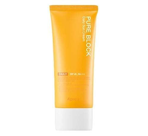 """<h3>A'PIEU PURE BLOCK Natural Daily Sun Cream SPF45/PA+++</h3> <br>This under-$10 K-beauty gem is crafted from an all-natural lightweight formula that boasts a moisturizing texture and residue-free satin finish — plus an Amazon's Choice stamp of approval along with 4.5 out of 5 stars and countless raves reviews.<br><br><strong>Fan-Following Says</strong>: """"This is the ONLY SUNSCREEN I'VE USED for the past two years recommended by my dermatologist-sister. She takes skincare and especially sunscreen very seriously. I use it as my last step during the daytime (after cleansing and moisturizing). Doesn't leave the 'white cast' that sunscreen typically leaves on the skin therefore making it great to wear underneath makeup. I have combination skin (dry forehead oily everywhere else) and it doesn't break me out.""""<br><br><strong>A'PIEU</strong> PURE BLOCK Natural Daily Sun Cream SPF45/PA+++, $, available at <a href=""""https://amzn.to/39u2Jen"""" rel=""""nofollow noopener"""" target=""""_blank"""" data-ylk=""""slk:Amazon"""" class=""""link rapid-noclick-resp"""">Amazon</a><br><br><br>"""