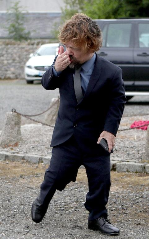 Actor Peter Dinklage arrives at Rayne Church, Kirkton of Rayne in Aberdeenshire