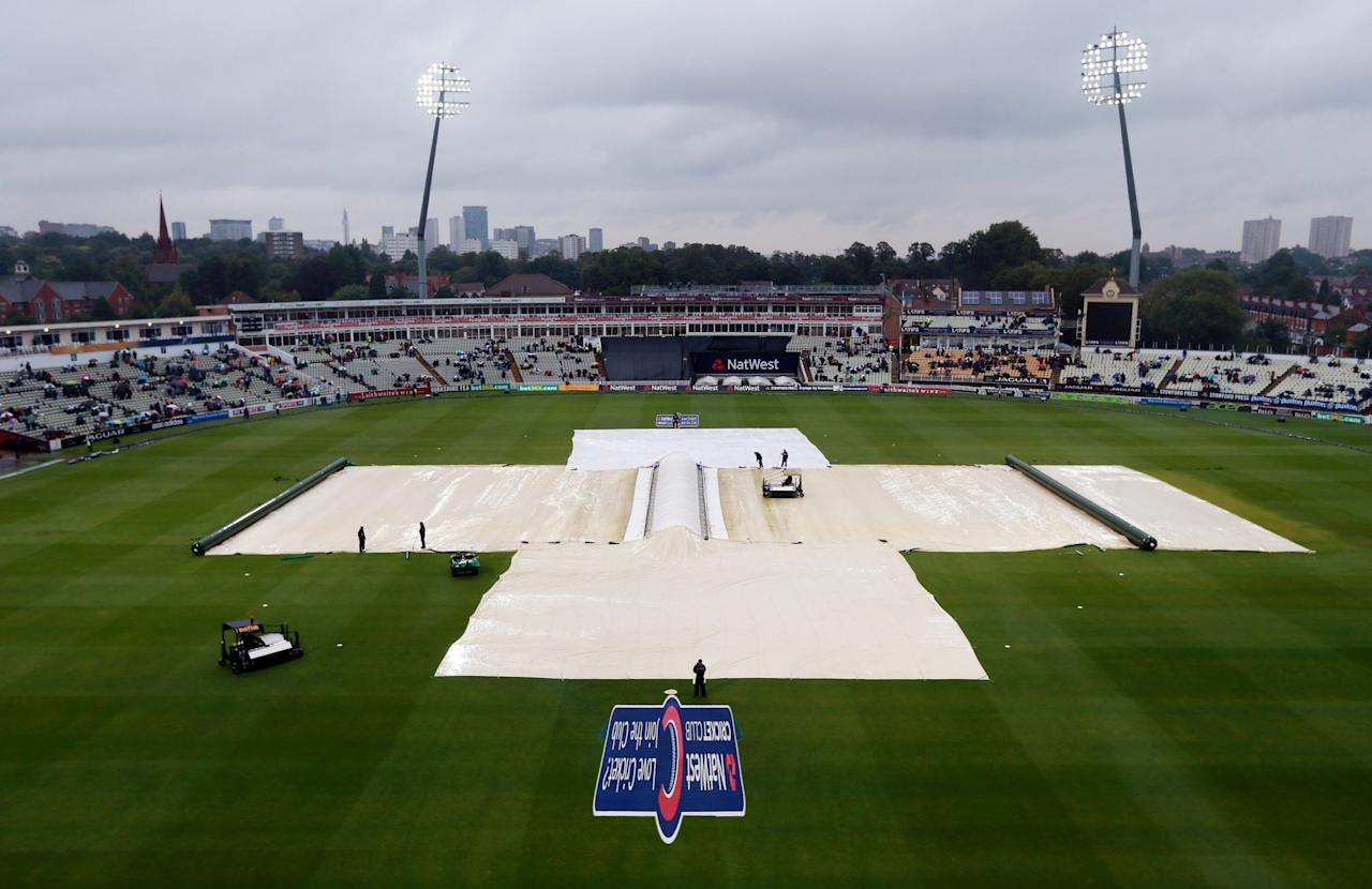 Rain stops play during the Third One Day International at Edgbaston, Birmingham.
