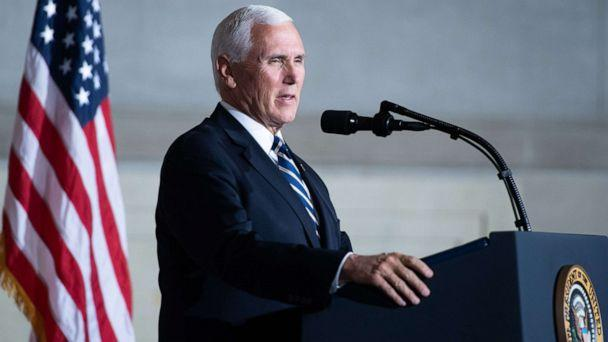 PHOTO: Vice President Mike Pence speaks during the White House Conference on American History at the National Archives in Washington, DC, Sept. 17, 2020. (Saul Loeb/AFP via Getty Images)