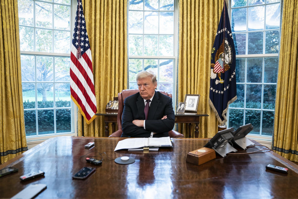 WASHINGTON, DC - NOVEMBER 27 : President Donald J. Trump speaks during an interview with Washington Post reporters Philip Rucker and Josh Dawsey in the Oval Office at the White House on Tuesday, Nov. 27, 2018 in Washington, DC. (Photo by Jabin Botsford/The Washington Post via Getty Images)