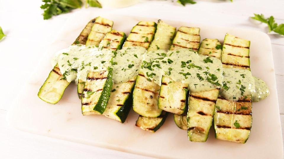 "<p>Oh my goddess, these are good!</p><p>Get the recipe from <a href=""https://www.delish.com/cooking/a21271734/grilled-goddess-zucchini-recipe/"" rel=""nofollow noopener"" target=""_blank"" data-ylk=""slk:Delish."" class=""link rapid-noclick-resp"">Delish.</a></p>"