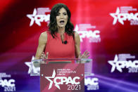 FILE - In this Feb. 27, 2021 file photo, South Dakota Gov. Kristi Noem speaks at the Conservative Political Action Conference (CPAC) in Orlando, Fla. Repealing statewide mask mandates and criticizing the Biden administration's unemployment-based formula for distributing billions in federal aid has put Republican governors and their approach to handling the coronavirus pandemic back in the spotlight. (AP Photo/John Raoux)