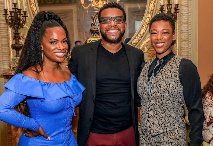 <p>Kandi Burruss and Samira Wiley celebrate their Broadway producing debut with playwright Keenan Scott II for the play <em>Thoughts for a Colored Man</em> at a party hosted by The Shubert Organization.</p>