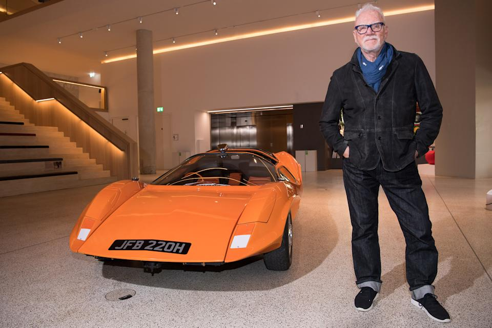 LONDON, ENGLAND - APRIL 04: A Clockwork Orange actor, Malcolm McDowell, is reunited with Probe 16 car from the film at The Design Museum on April 04, 2019 in London, United Kingdom. (Photo by Jeff Spicer/Getty Images)