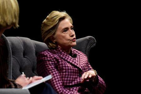 Former U.S. Secretary of State, Hillary Clinton speaks during an interview with Mariella Frostrup at the Cheltenham Literature Festival in Cheltenham, Britain October 15, 2017. REUTERS/Rebecca Naden