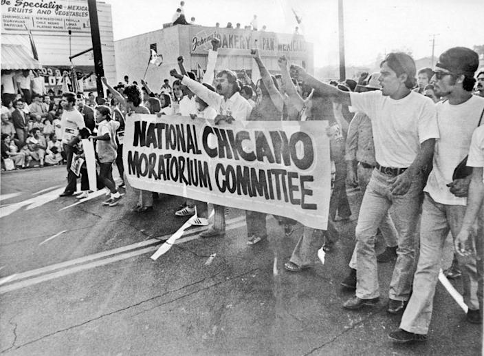 A National Chicano Moratorium march against the Vietnam War in East L.A. in 1970.