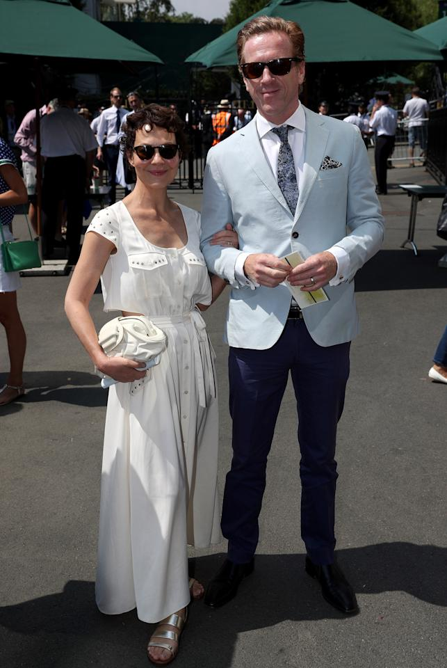 <p>Damian Lewis and Helen McCrory arrived at the British tennis tournament on 13 July. <em>[Photo: PA]</em> </p>
