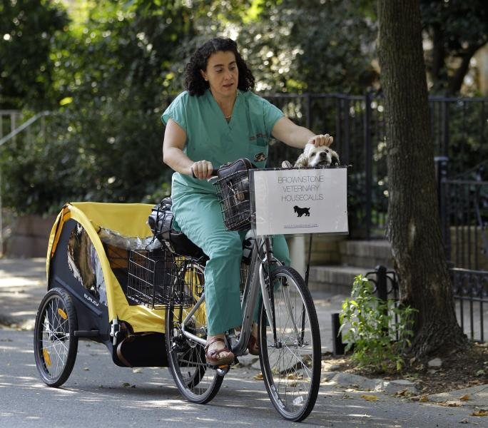 This Aug. 9, 2012 photo shows Dr. Elisabeth Coletti, a Brooklyn-based veterinarian who makes house calls, arriving by bicycle to an appointment in New York. Coletti brings her own dog, Milo, a cocker spaniel who rides in her front basket, with her on the job. (AP Photo/Kathy Willens)
