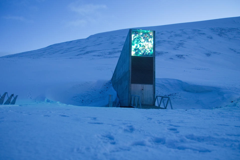 """The Seed Vault represents the world""""u2019s largest collection of crop diversity in is located deep inside a mountain on the Svalbard archipelgo, halfway between mainland Norway and the north pole."""