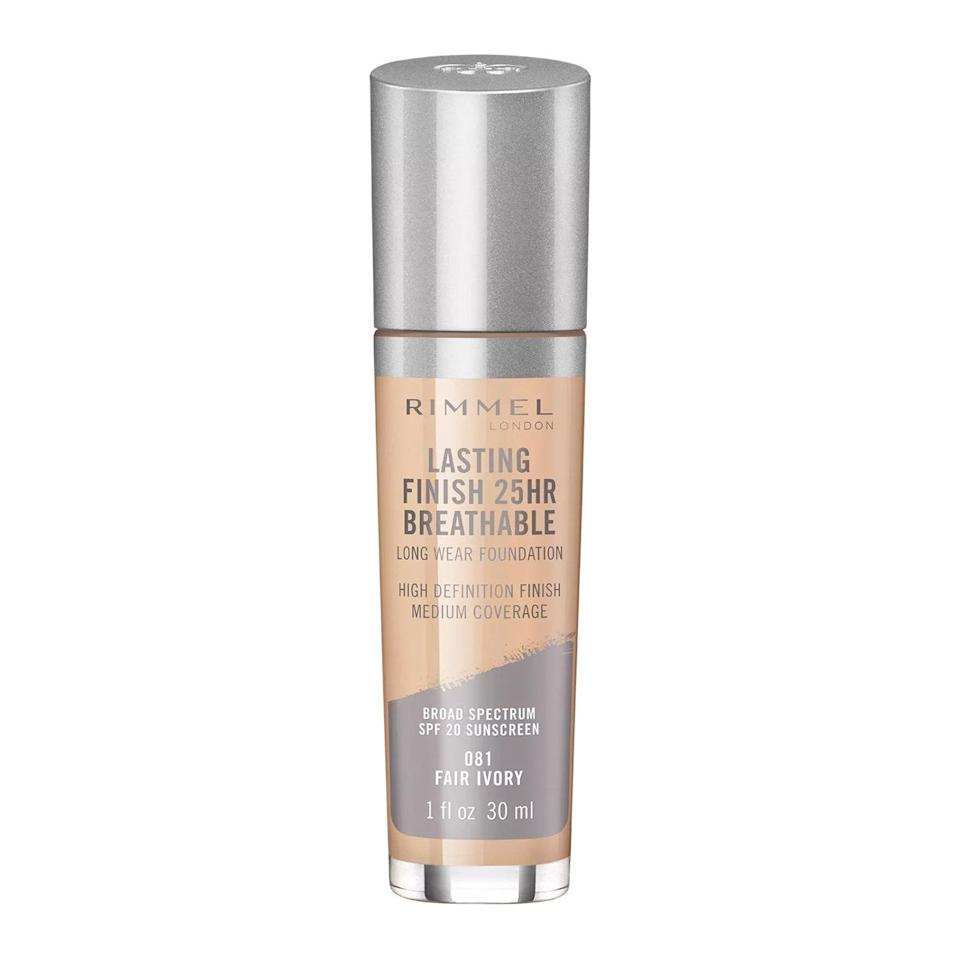 """I usually avoid full-coverage foundations because I'm prone to <a href=""""https://www.glamour.com/story/adult-acne-causes-and-treatments?mbid=synd_yahoo_rss"""" rel=""""nofollow noopener"""" target=""""_blank"""" data-ylk=""""slk:breakouts"""" class=""""link rapid-noclick-resp"""">breakouts</a>. It doesn't matter how scrupulous I am with makeup remover at night; if I cake on foundation one day, I'll have several flare-ups the next. For occasions when I can't get away with just concealer, I use Rimmel's Lasting Finish 25HR Breathable Foundation. I dab the applicator wand once on each cheek and over my <a href=""""https://www.glamour.com/gallery/best-dark-spot-correctors?mbid=synd_yahoo_rss"""" rel=""""nofollow noopener"""" target=""""_blank"""" data-ylk=""""slk:dark spots"""" class=""""link rapid-noclick-resp"""">dark spots</a>, then blend it in with my fingers. The formula is so long-lasting that I don't need anything more than that! And at $7 a bottle, I don't have to feel guilty for not using it that often. —<em>Halie LeSavage, contributor</em> $7, Amazon. <a href=""""https://www.amazon.com/Rimmel-Lasting-Finish-Breathable-Foundation/dp/B078GWQ3Q7?th=1"""" rel=""""nofollow noopener"""" target=""""_blank"""" data-ylk=""""slk:Get it now!"""" class=""""link rapid-noclick-resp"""">Get it now!</a>"""