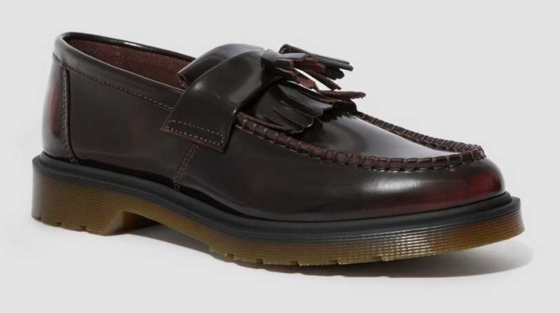 Dr. Marten's Adrian Arcadia Leather Tassel Loafers in Cherry Red