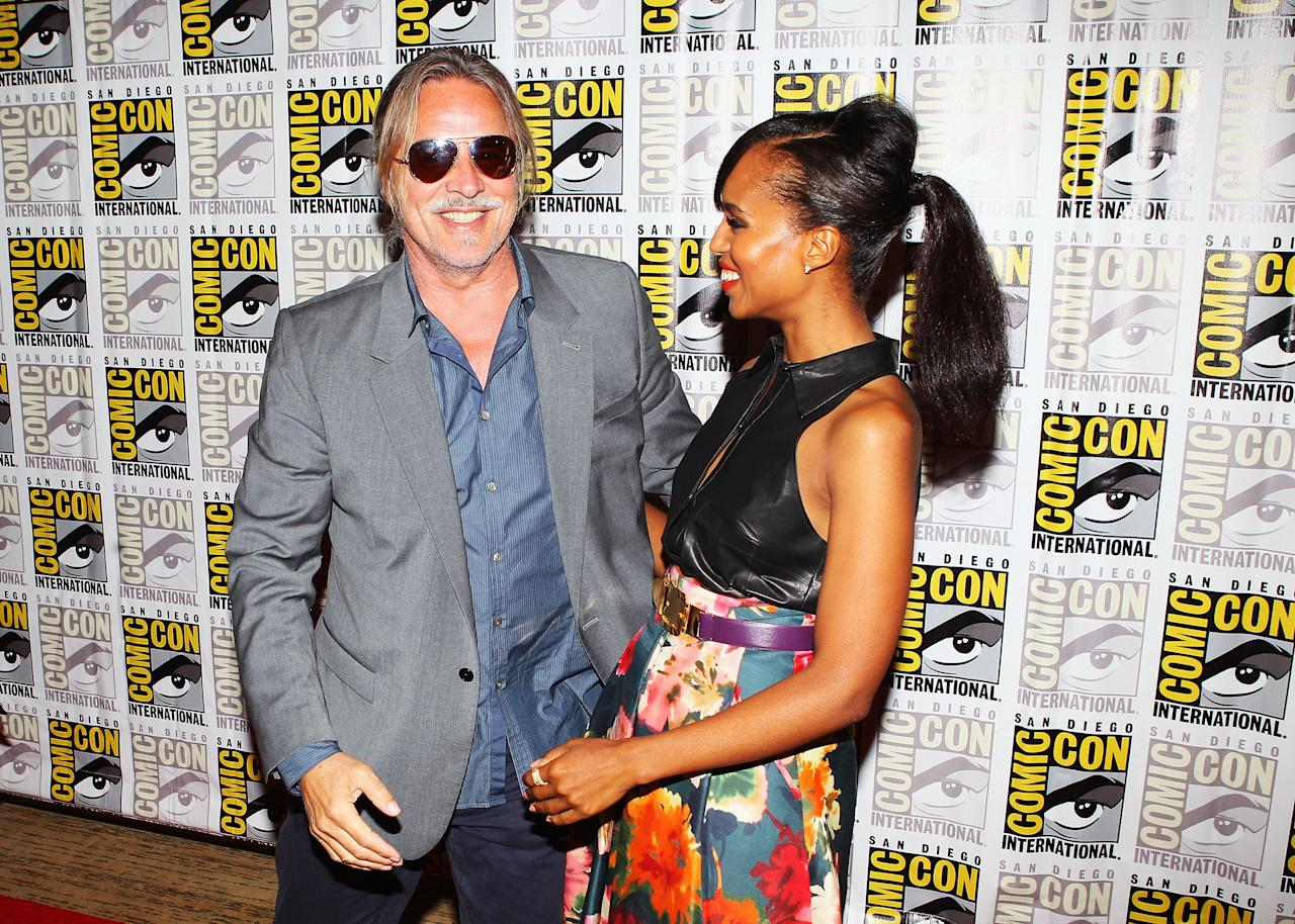 """SAN DIEGO, CA - JULY 14:  Actors Don Johnson and Kerry Washington attend """"Django Unchained"""" at Comic-Con 2012 at Hilton San Diego Bayfront Hotel on July 14, 2012 in San Diego, California.  (Photo by Joe Scarnici/Getty Images for The Weinstein Company)"""
