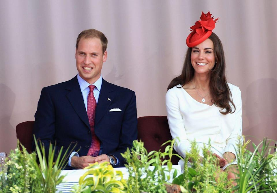 <p>The Duke and Duchess of Cambridge embarked on their first royal tour in July 2011. The newlyweds traveled to Canada, where Kate aced diplomatic dressing in a white sheath dress and red fascinator. </p>