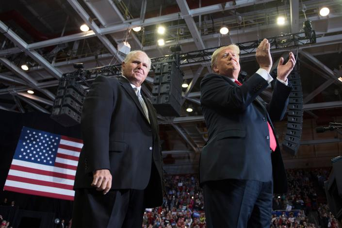 President Trump with radio talk show host Rush Limbaugh at a rally in Cape Girardeau, Mo., Nov. 5, 2018. (Photo: Jim Watson/AFP via Getty Images)