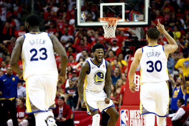 May 28, 2018; Houston, TX, USA; Golden State Warriors center Jordan Bell (2) reacts after a score against the Houston Rockets during the second half of game seven of the Western conference finals of the 2018 NBA Playoffs at Toyota Center. Mandatory Credit: Troy Taormina-USA TODAY Sports TPX IMAGES OF THE DAY
