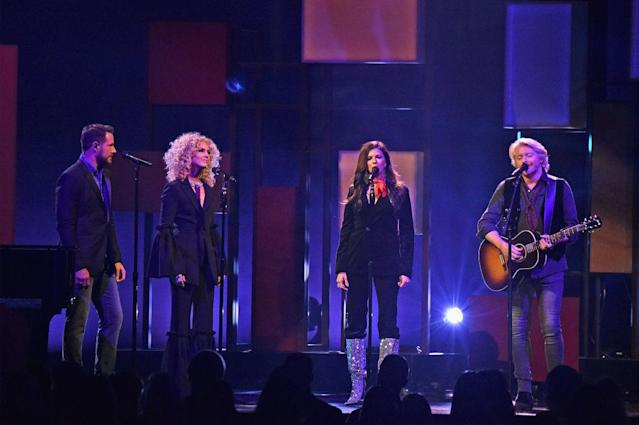 <p>Jimi Westbrook, Kimberly Schlapman, Karen Fairchild, and Phillip Sweet of Little Big Town perform onstage at the 51st annual CMA Awards at the Bridgestone Arena on November 8, 2017 in Nashville, Tennessee. (Photo by John Shearer/WireImage) </p>