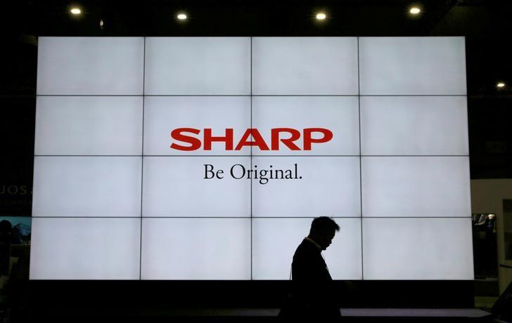 A logo of Sharp Corp is pictured at the CEATEC JAPAN 2017 in Chiba