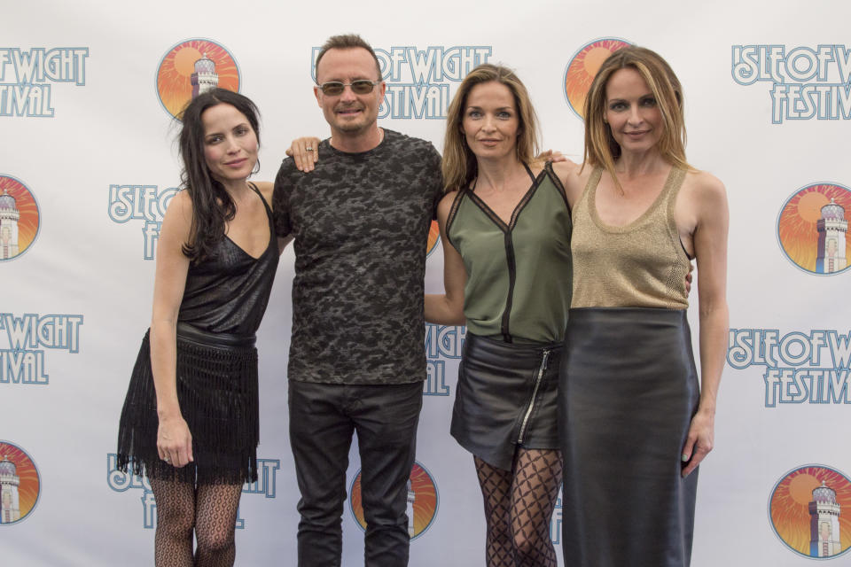 NEWPORT, ISLE OF WIGHT - JUNE 11:  Andrea Corr, Jim Corr, Caroline Corr and Sharon Corr from Corrs at the Isle Of Wight Festival 2016 at Seaclose Park on June 11, 2016 in Newport, Isle of Wight.  (Photo by Rob Ball/WireImage)