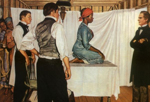 """<span class=""""caption"""">This 1952 painting by Robert Thom is the only known representation of Lucy, Anarcha and Betsey.</span> <span class=""""attribution""""><a class=""""link rapid-noclick-resp"""" href=""""http://projects.leadr.msu.edu/youngamerica/files/original/a4116eee1a9fbb1ded5fa9263eea388f.png"""" rel=""""nofollow noopener"""" target=""""_blank"""" data-ylk=""""slk:Pearson Museum, Southern Illinois University School of Medicine"""">Pearson Museum, Southern Illinois University School of Medicine</a></span>"""