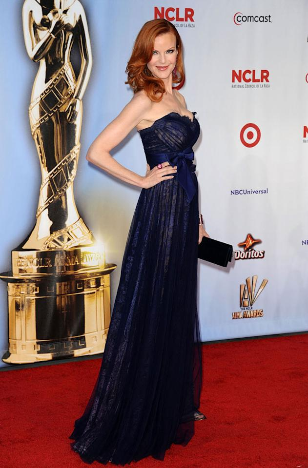 "Marcia Cross -- who donned a navy blue Jean Fares Couture gown -- came out to support her ""Desperate Housewives"" co-star Eva Longoria. Valerie Macon/<a href=""http://www.gettyimages.com/"" target=""new"">GettyImages.com</a> - September 10, 2011"