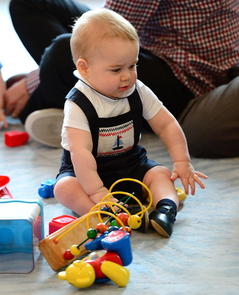 <p>Yet further proof that little George has had an undeniable influence on the fashion industry since his early years. Back in April 2014, the young royal donned a sailboat-embroidered romper suit during his first royal tour abroad and it sold out instantly. <em>[Photo: Getty]</em> </p>